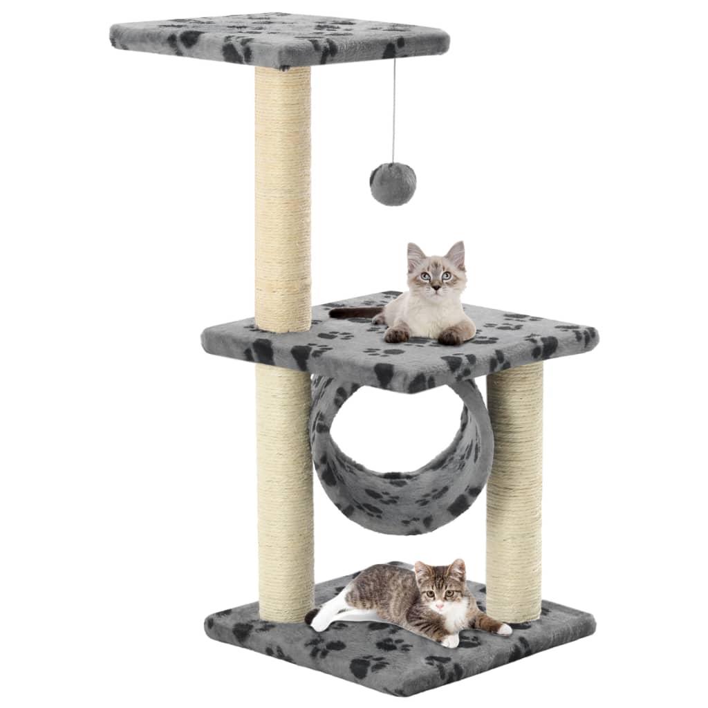 vidaXL Škrabadlo pro kočky sisalové sloupky 65 cm šedé s potiskem