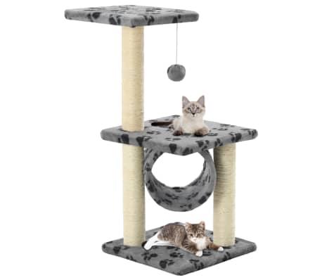 vidaXL Kissan raapimispuu sisal-pylväillä 65 cm tassunjäljet harmaa[1/5]