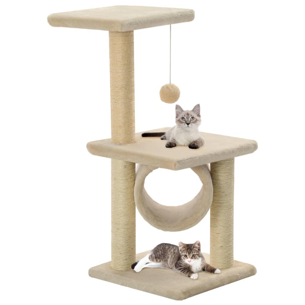 vidaXL Škrabadlo pro kočky sisalové sloupky 65 cm béžové