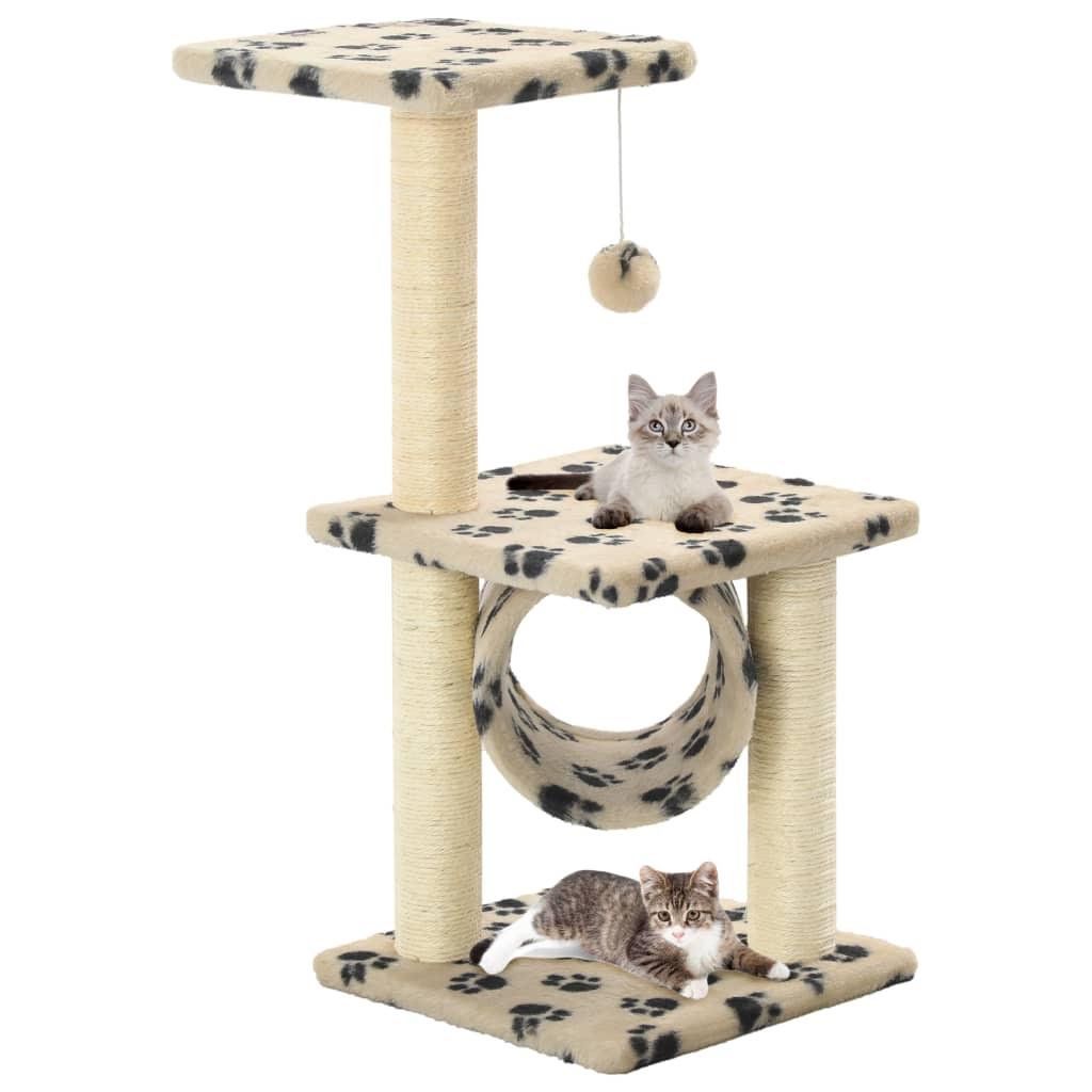 vidaXL Škrabadlo pro kočky sisalové sloupky 65 cm béžové s potiskem