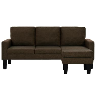 vidaXL 3-kohaline otomaniga kangaga diivan, pruun[2/9]