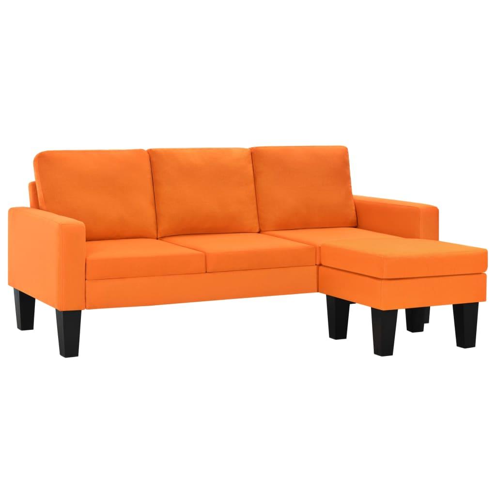 vidaXL Καναπές Τριθέσιος Πορτοκαλί Υφασμάτινος με Υποπόδιο
