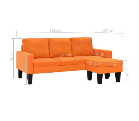 Vidaxl divano 3 posti in tessuto con poggiapiedi arancione - Divano con poggiapiedi ...