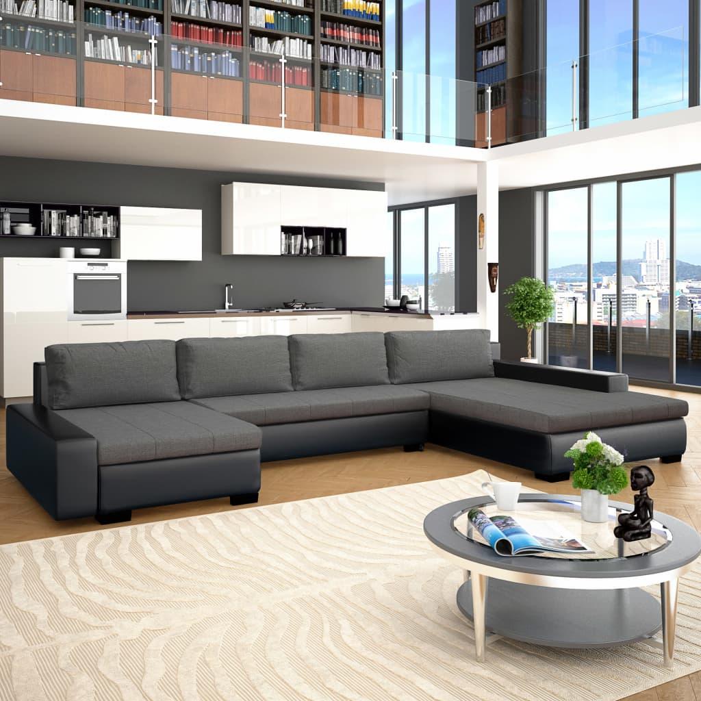 Canapé modulable Noir Cuir Contemporain Confort