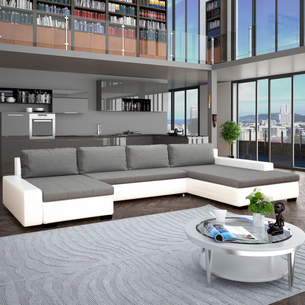 Canapé modulable Blanc Cuir Contemporain Confort