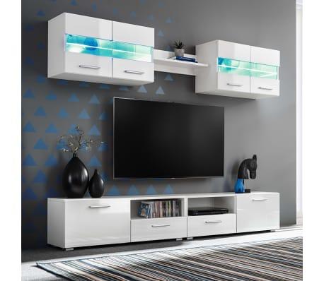 vidaXL Set Parete Attrezzata Porta TV con Luci LED 5 pz Bianco ...