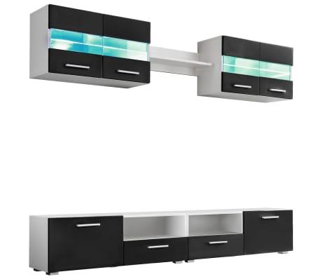 vidaXL Mobilier sufragerie, spațiu TV 5 piese, lumini LED Negru lucios