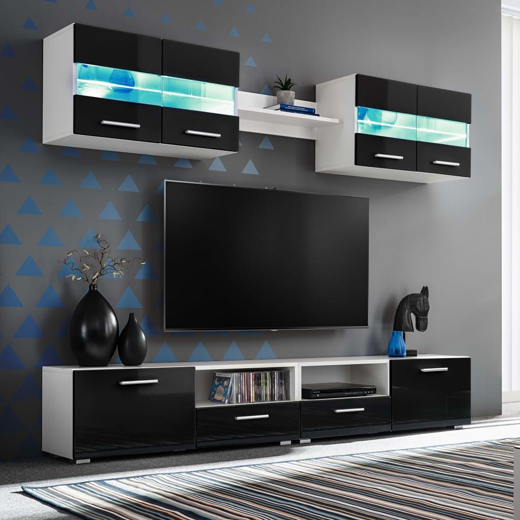 vidaXL Mobilier sufragerie, spațiu TV 5 piese, lumini LED Negru lucios poza vidaxl.ro