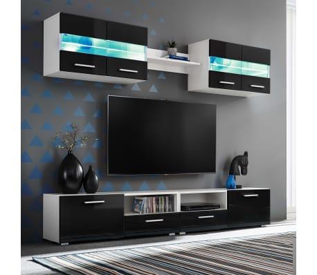 vidaXL Set Parete Attrezzata Porta TV con Luci LED 5 pz Nero Lucido ...