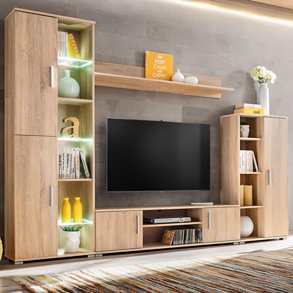 vidaXL Meblościanka pod TV z oświetleniem LED, dąb sonoma