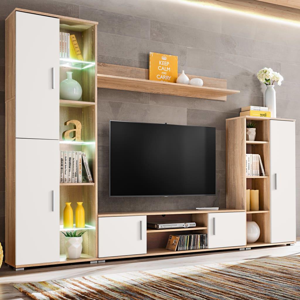 vidaXL Mobilier sufragerie spațiu TV, lumini LED, Stejar Sonoma și Alb poza 2021 vidaXL