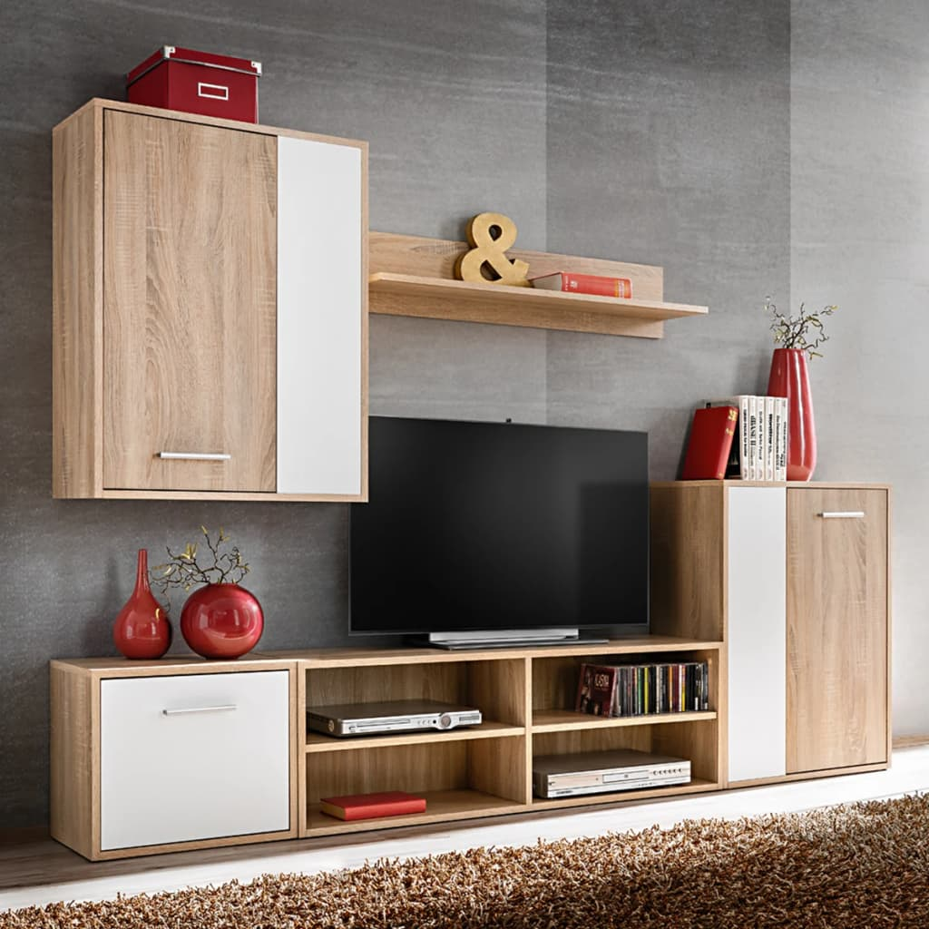 Details about living room furniture wall unit set floor stand tv cabinet wall mounted cupboard