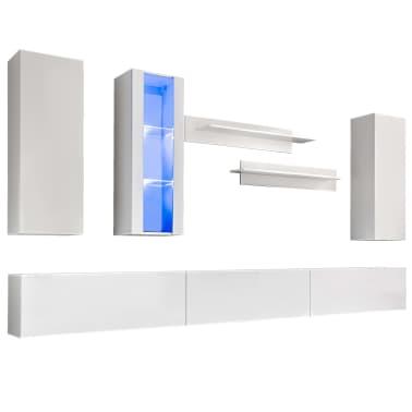 vidaXL TV-møbelsæt i 8 dele med LED-lys højglans hvid[2/16]