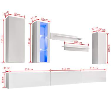 vidaXL TV-møbelsæt i 8 dele med LED-lys højglans hvid[16/16]