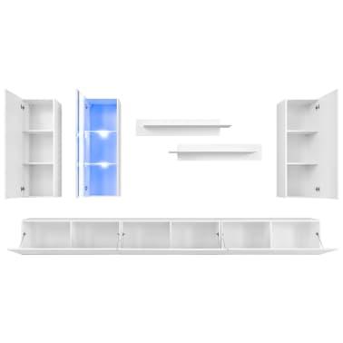 vidaXL TV-møbelsæt i 8 dele med LED-lys højglans hvid[4/16]