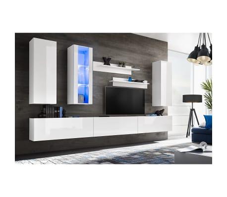 vidaXL Set Parete Attrezzata Porta TV con Luci LED 8 pz Bianco ...