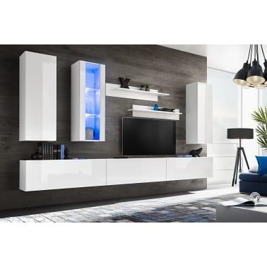 vidaXL TV-møbelsæt i 8 dele med LED-lys højglans hvid[1/16]