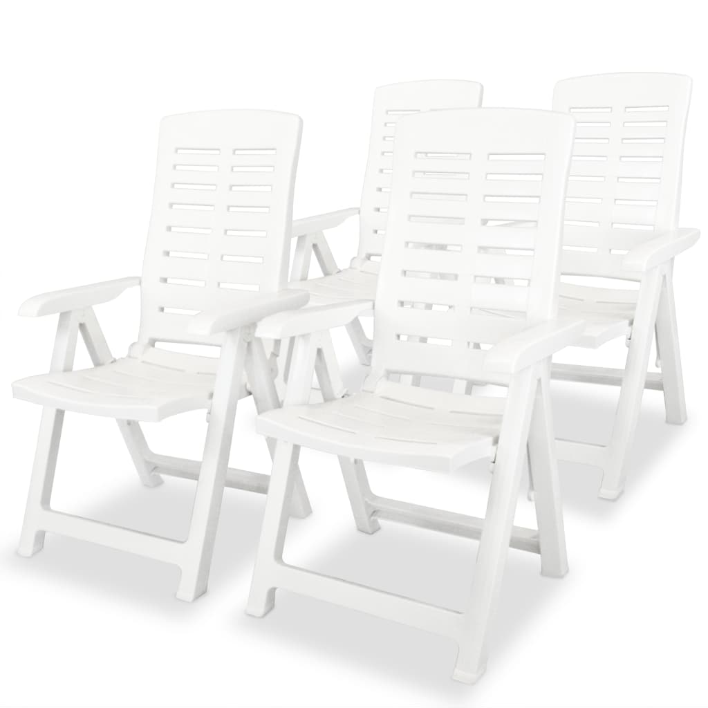 vidaXL Chaise inclinable de jardin 4 pcs 60x61x108 cm Plastique Blanc