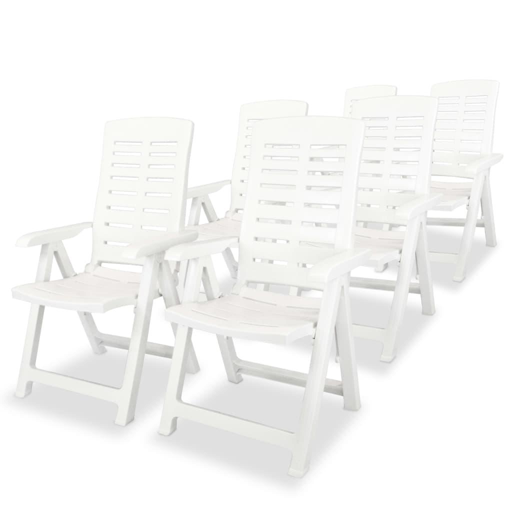 vidaXL Καρέκλες Κήπου Ανακλινόμενες 6 τεμ. Λευκές Πλαστικές