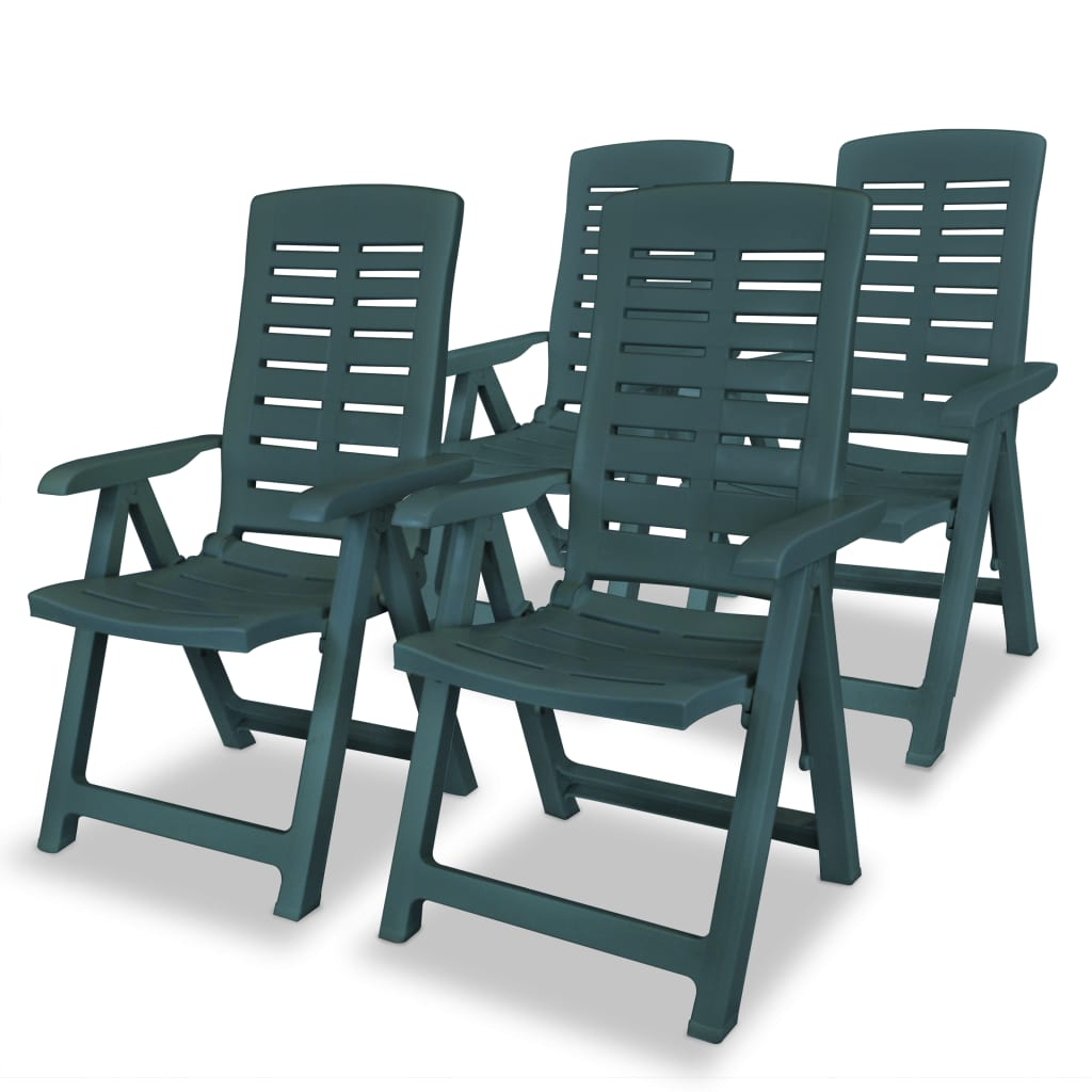 vidaXL Καρέκλες Κήπου Ανακλινόμενες 4 τεμ. Πράσινες Πλαστικές