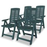 vidaXL Verstellbare Gartenstühle 4 Stk. 60 x 61 x 108 cm Kunststoff Grün (43896x2)