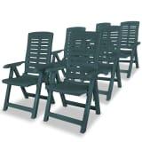 vidaXL Verstellbare Gartenstühle 6 Stk. 60 x 61 x 108 cm Kunststoff Grün (43896x3)