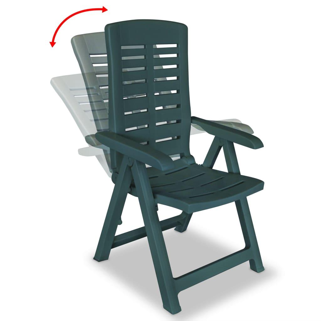 VIDAXL 6X CHAISE Inclinable de Jardin Plastique Vert meuble Chaise  d\'Exterieur