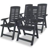 vidaXL Reclining Garden Chairs 4 pcs Plastic Anthracite