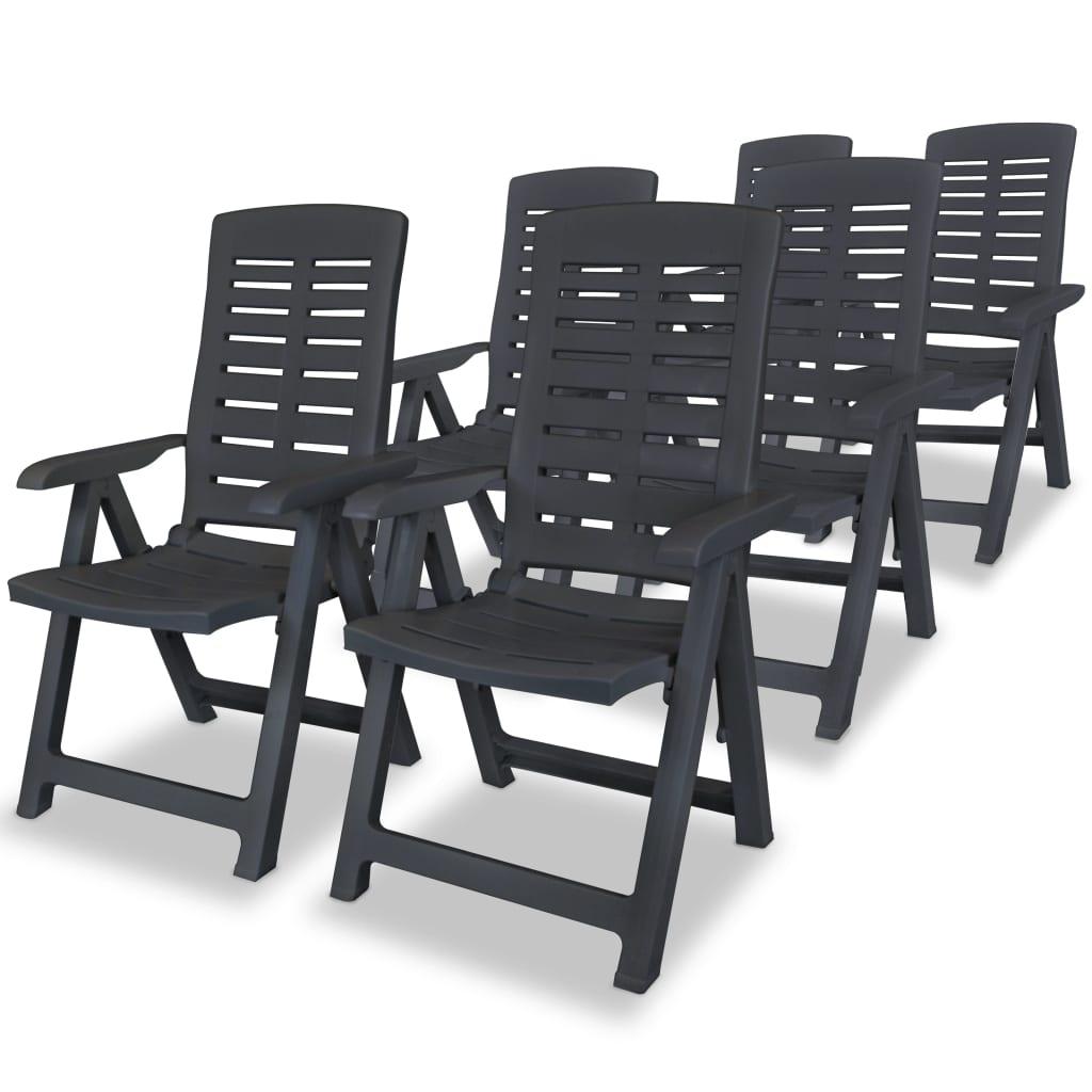 vidaXL Polohovatelné zahradní židle 6 ks 60x61x108cm plast antracitové