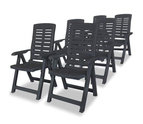 vidaXL Sklápacie záhradné stoličky 6 ks, plast, antracitové