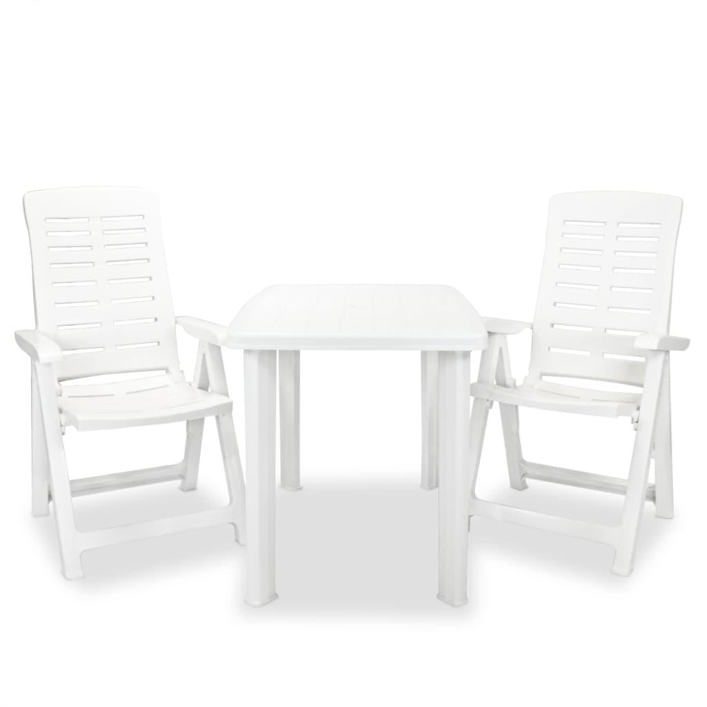 vidaXL Σετ Επίπλων Bistro 3 Τεμαχίων Λευκό Πλαστικό