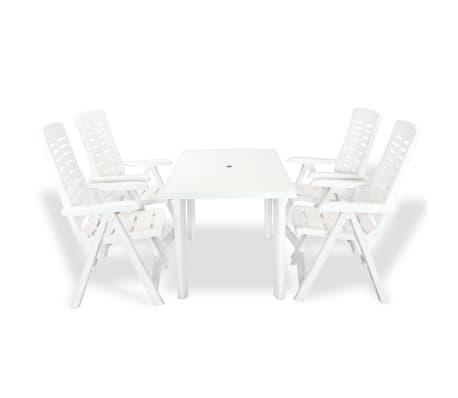 vidaXL 5-tlg. Garten-Essgruppe Kunststoff Weiß
