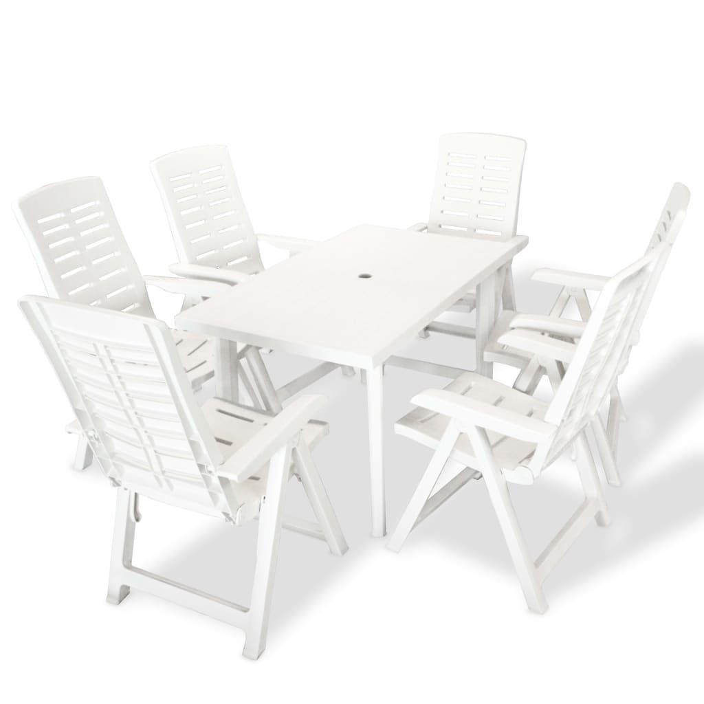 vidaXL 7dílná sada venkovního jídelního nábytku 126 x 76 x 72 cm bílá