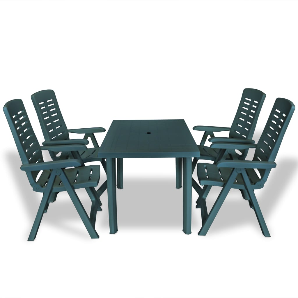 vidaXL Set mobilier de exterior, 5 piese, verde, plastic poza 2021 vidaXL