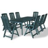 vidaXL Mobilier à dîner d'extérieur 9 pcs Plastique Vert