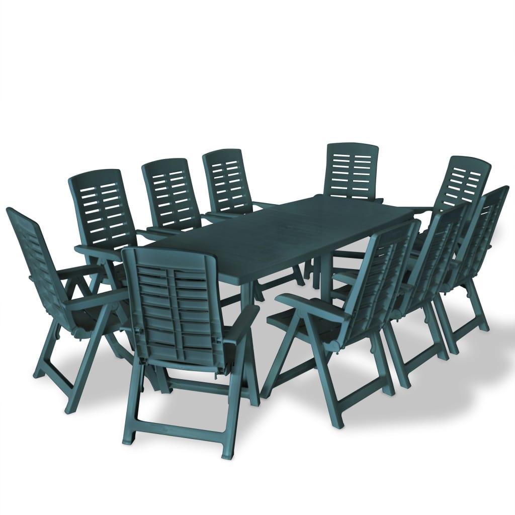 vidaXL Set mobilier de exterior, 11 piese, verde, plastic poza 2021 vidaXL