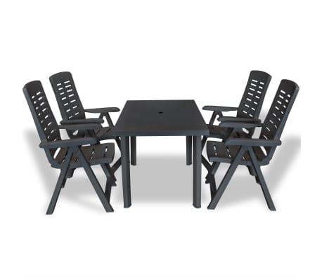 vidaXL Mobilier à dîner d'extérieur 5 pcs Plastique Anthracite