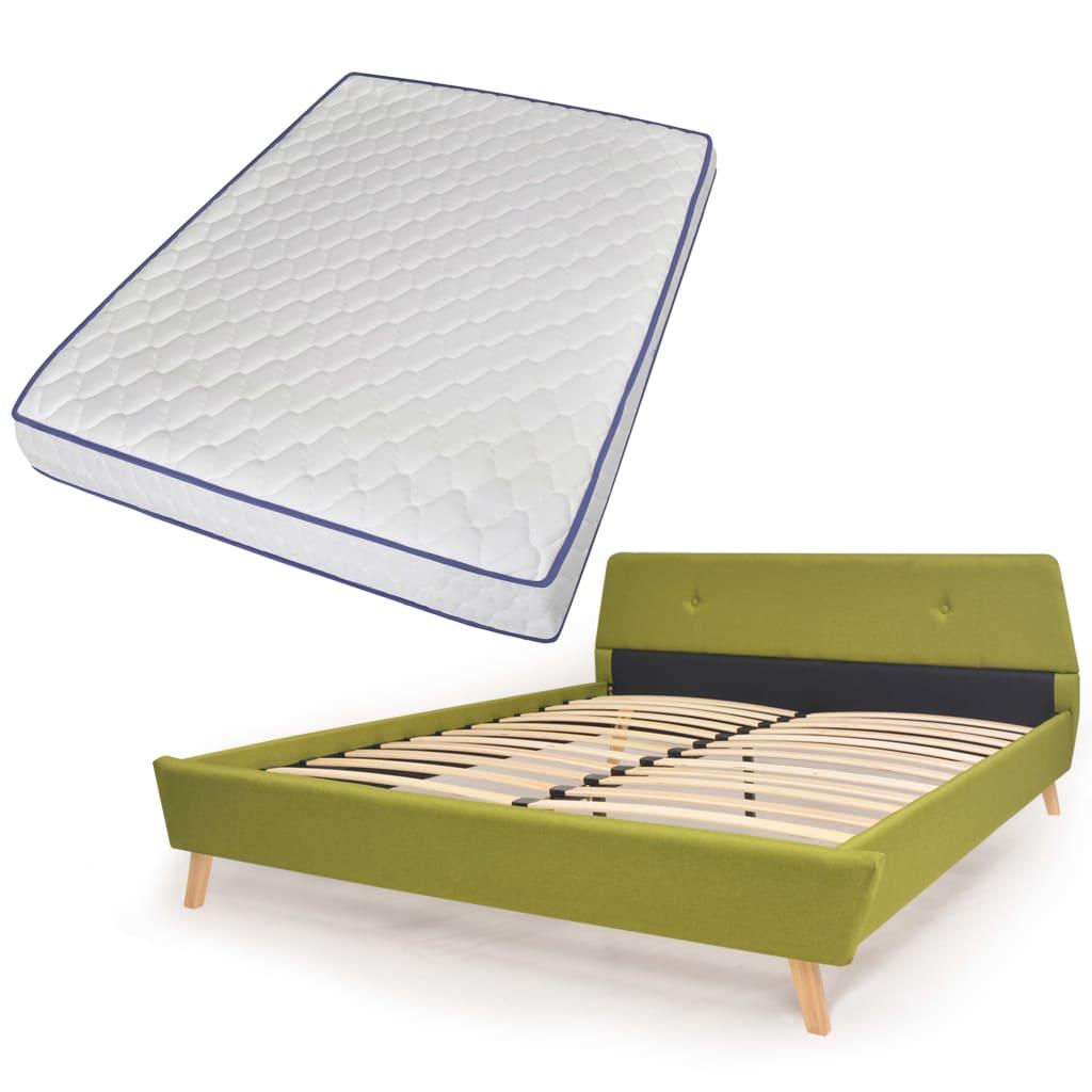 vidaXL Κρεβάτι Πράσινο 140 x 200 εκ. Υφασμάτινο με Στρώμα Αφρού Μνήμης
