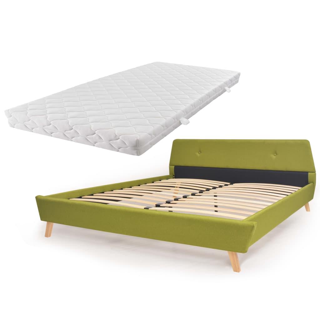 vidaXL Κρεβάτι Πράσινο 160 x 200 εκ. Υφασμάτινο με Στρώμα