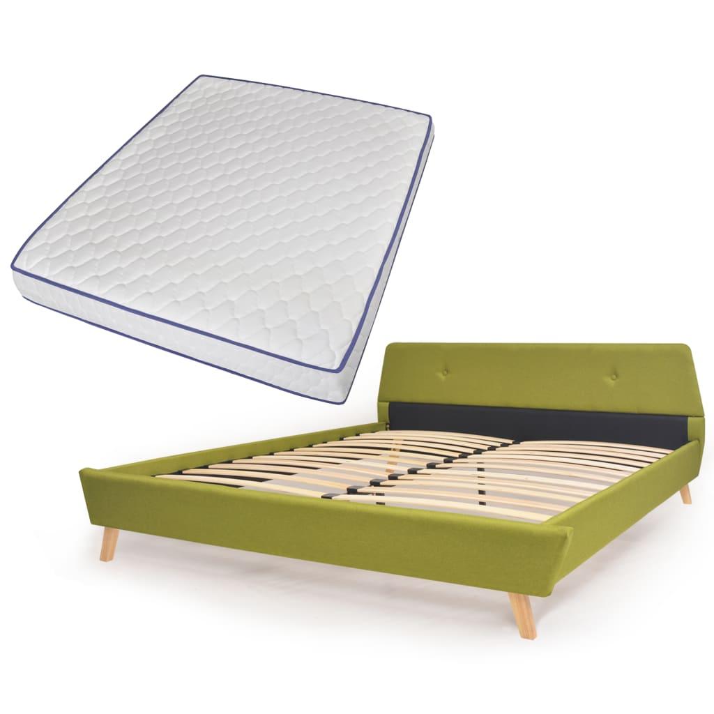 vidaXL Κρεβάτι Πράσινο 160×200 εκ. Υφασμάτινο + Στρώμα Αφρού Μνήμης