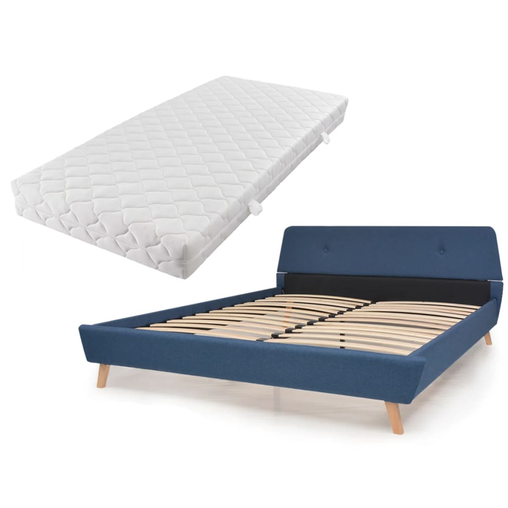 vidaXL Κρεβάτι Μπλε 140 x 200 εκ. Υφασμάτινο με Στρώμα