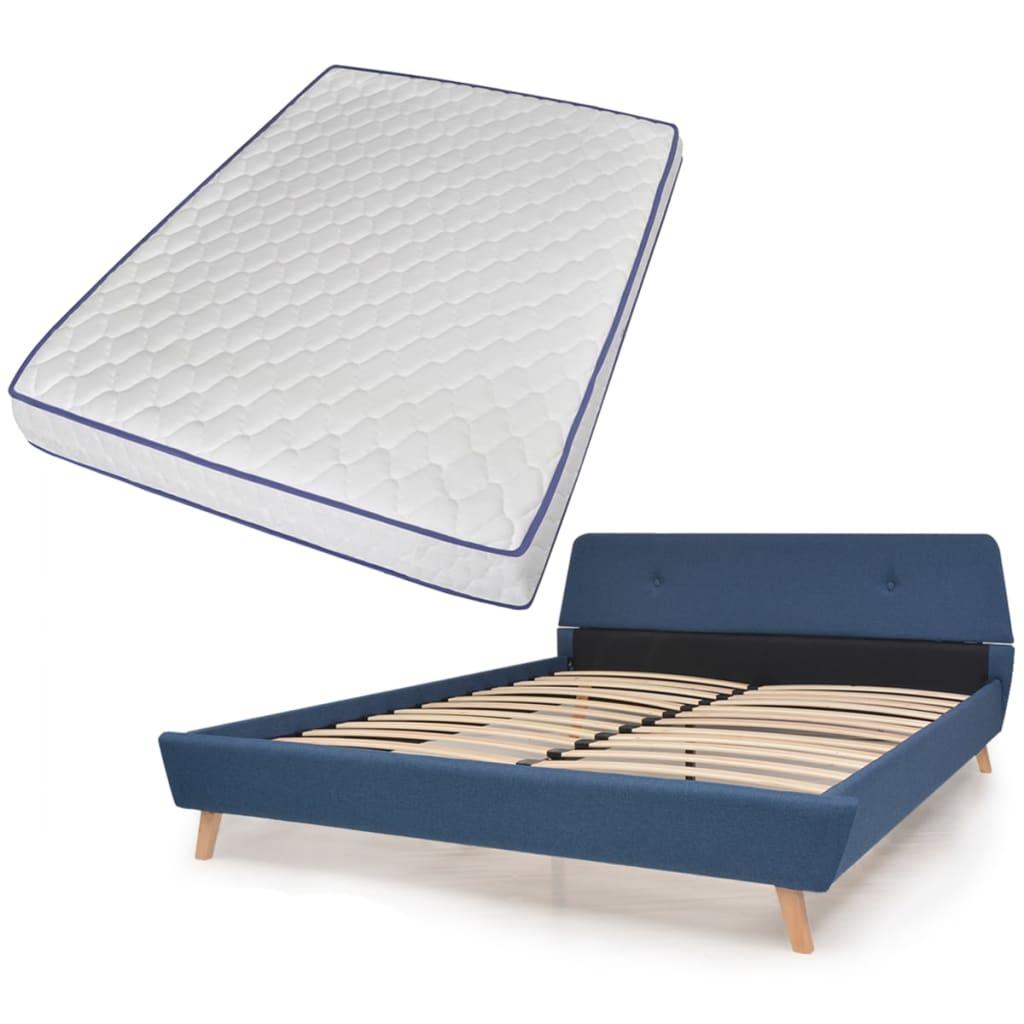 vidaXL Κρεβάτι Μπλε 140 x 200 εκ. Υφασμάτινο με Στρώμα Αφρού Μνήμης