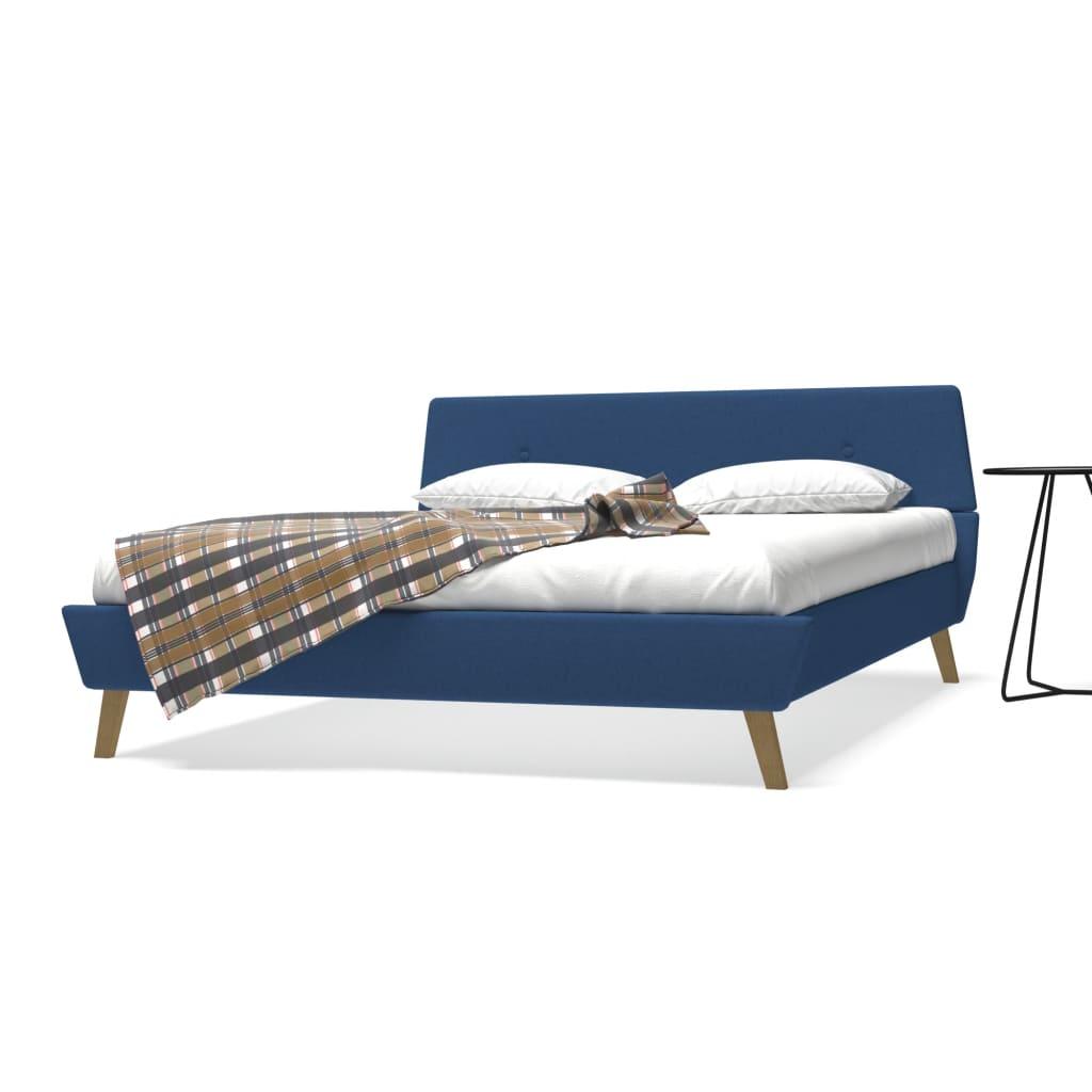 vidaXL Postel s matrací, 160 x 200 cm, textilní čalounění, modrá