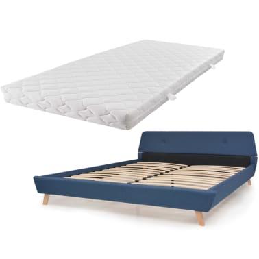 Vidaxl letto con materasso 180x200 cm in tessuto blu - Letto contenitore materasso 180x200 ...