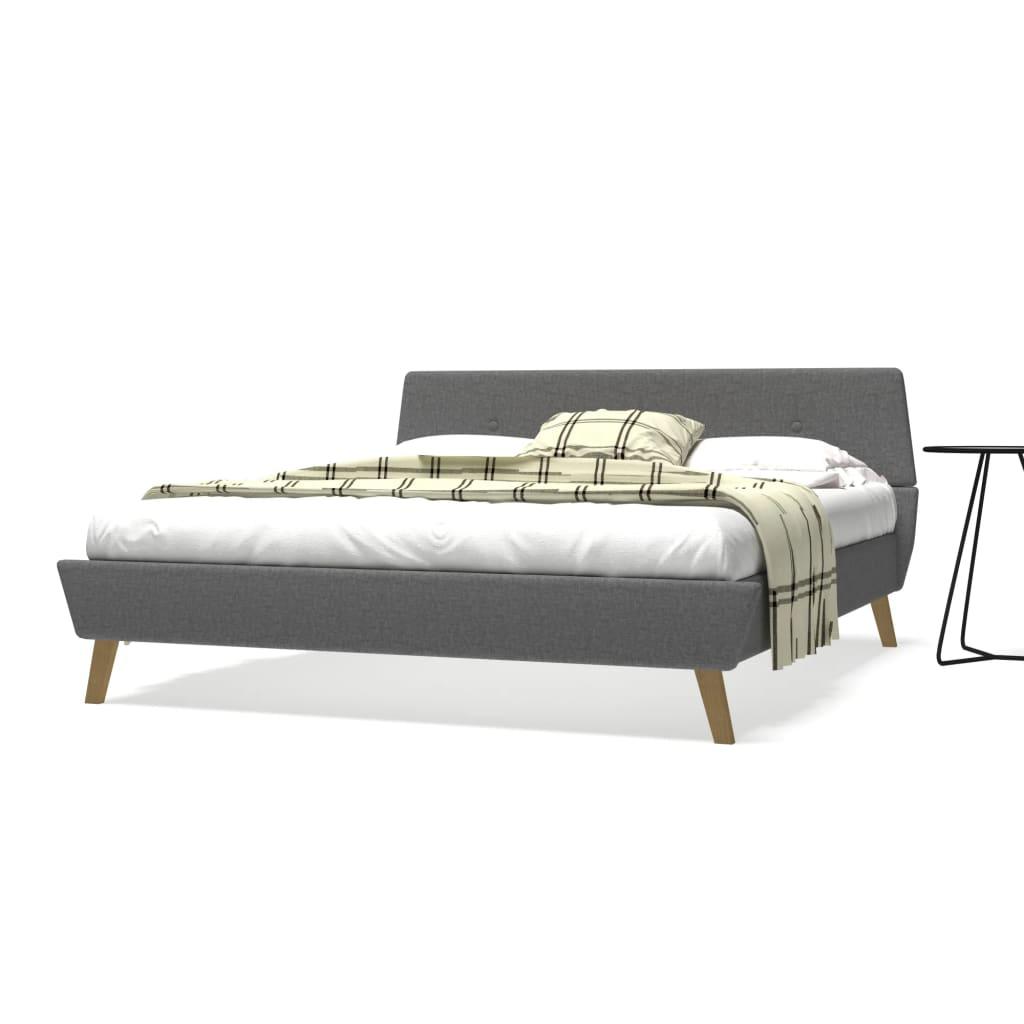 vidaXL Postel s matrací 160 x 200 cm textilní čalounění světle šedé