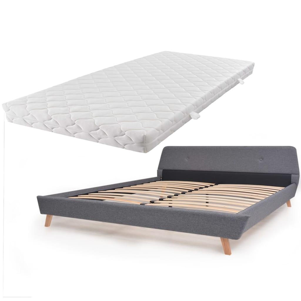 vidaXL Κρεβάτι Ανοιχτό Γκρι 180 x 200 εκ. Υφασμάτινο με Στρώμα