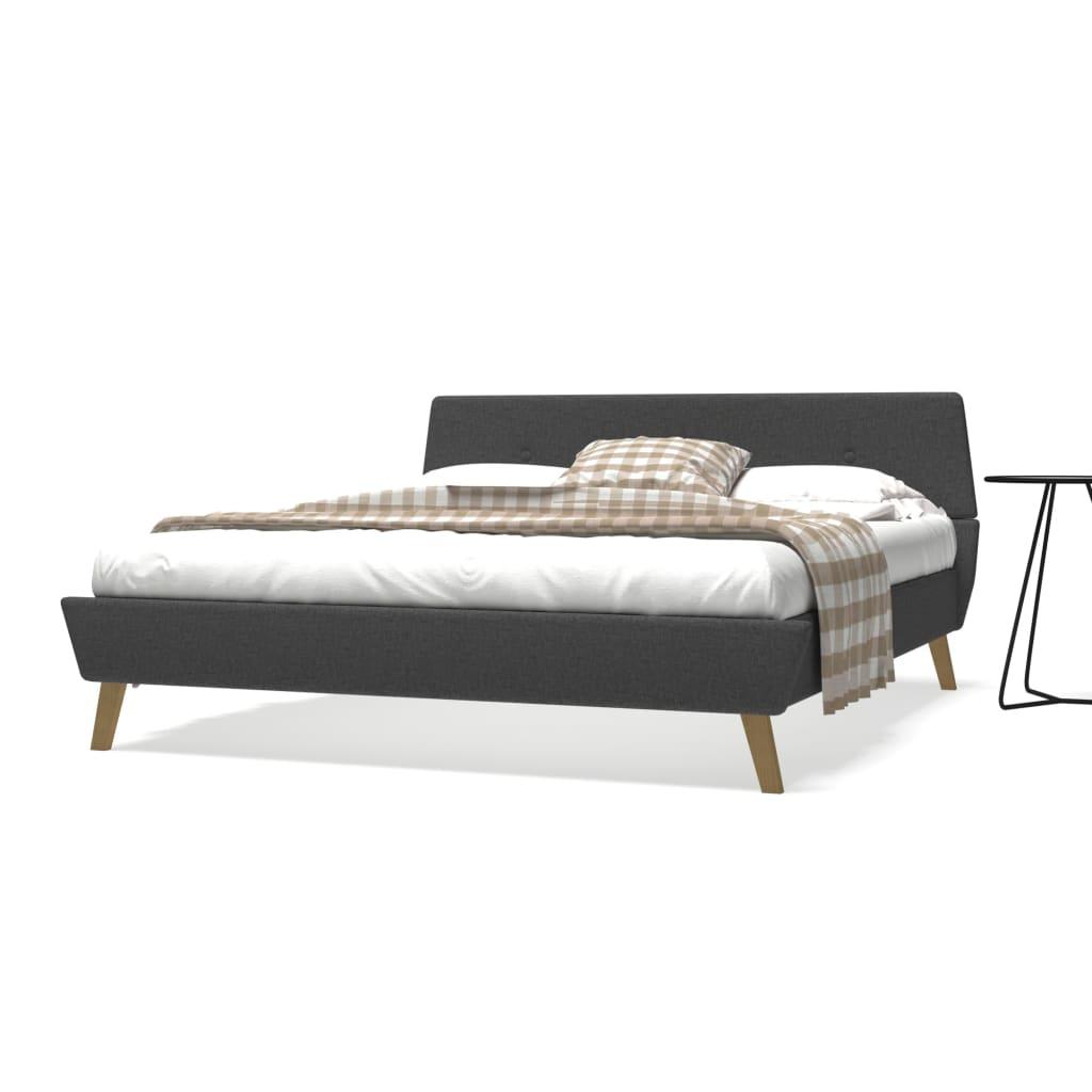 vidaXL Postel s matrací z paměťové pěny 160x200 cm textil tmavě šedý