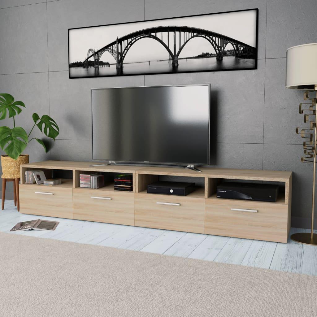 vidaXL Stolek pod TV, 2 ks, dřevotříska, 95 x 35 x 36 cm, dub