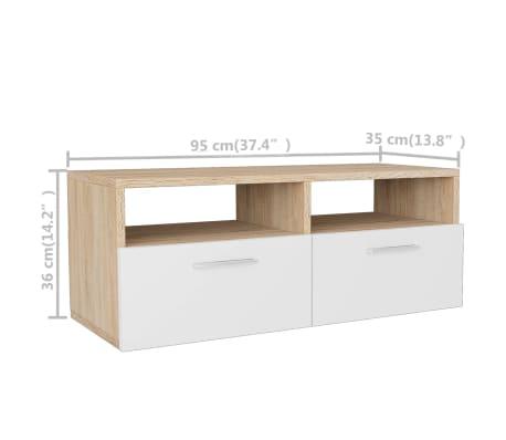 vidaXL Tv-meubels 95x35x36 cm spaanplaat eikenkleurig en wit 2 st[6/6]