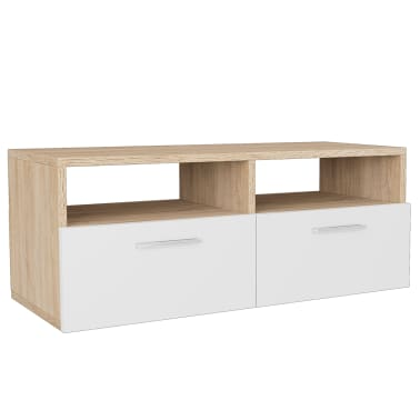 vidaXL Tv-meubels 95x35x36 cm spaanplaat eikenkleurig en wit 2 st[3/6]